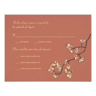 Pink Peach Blossoms Custom RSVP Reply Card 11 Cm X 14 Cm Invitation Card