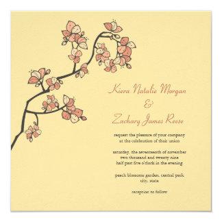 Pink Peach Blossoms Custom Wedding Invitation