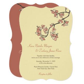 Pink Peach Blossoms Sakura Asian Wedding Invite