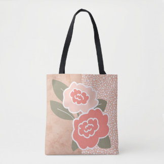 Pink-Peach-Salmon Whimsical Flowers Tote Bag