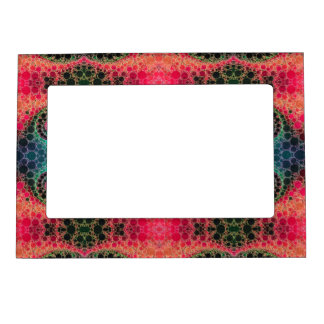 Pink Peach Turquoise Fractal Abstract Magnetic Frame