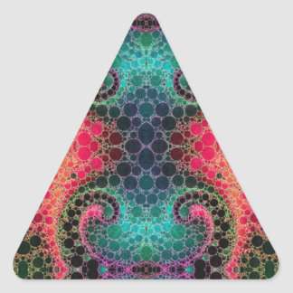 Pink Peach Turquoise Fractal Abstract Triangle Sticker