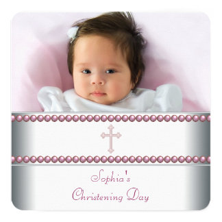 Pink Pearl Christening 13 Cm X 13 Cm Square Invitation Card
