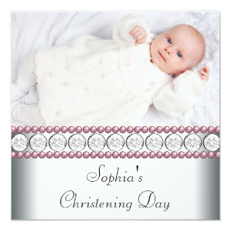 Pink Pearls White Baby Girl Photo Christening 13 Cm X 13 Cm Square Invitation Card