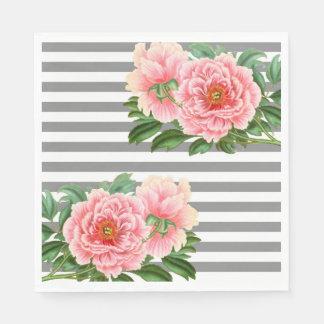 Pink peonies grey lines paper napkin