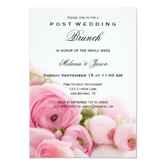 Pink Peonies Post Wedding Brunch Invitation