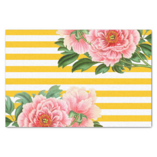 Pink Peonies Yellow Stripes Tissue Paper