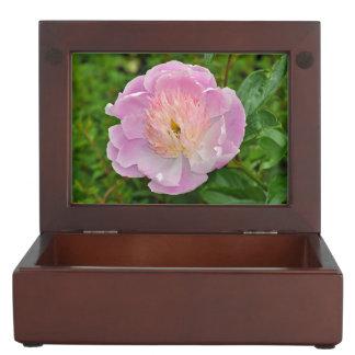 Pink peony flower keepsake box