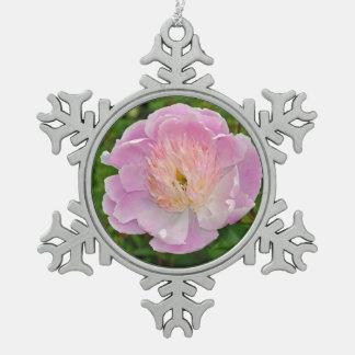 Pink peony flower snowflake pewter christmas ornament