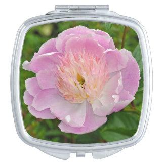 Pink peony flower travel mirror