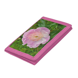 Pink peony flower trifold wallet