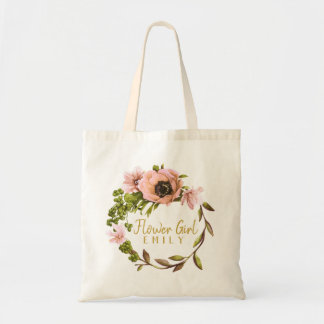 Pink Peony Wreath Flower Girl Name ID456 Tote Bag
