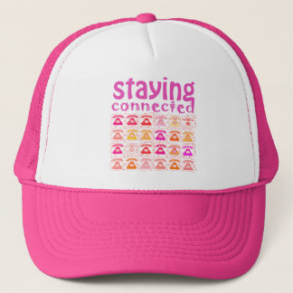 Pink Phone Pattern Staying Connected Amusing Girly Trucker Hat