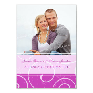 Pink Photo Engagement Announcement Cards
