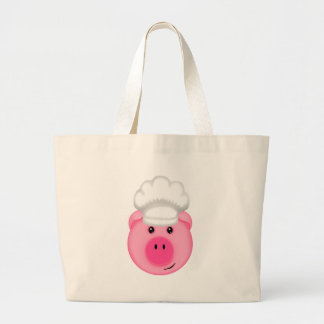 Pink Pig Chef Large Tote Bag