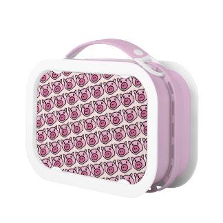 pink pig pattern lunch box