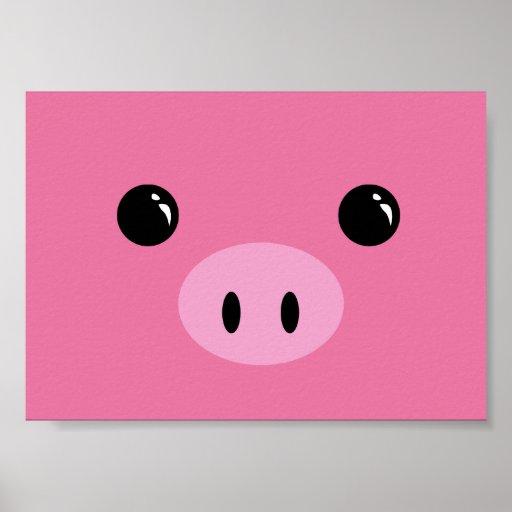 Pink Piglet Cute Animal Face Design Print