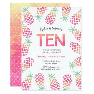 Pink 10th birthday invitations zazzle pink pinapple tropical 10th birthday invitation filmwisefo