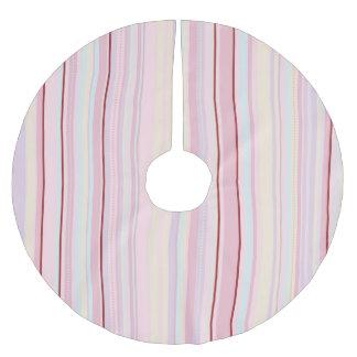 Pink Pinstripe Brushed Polyester Tree Skirt