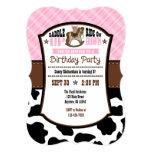 Pink Plaid Cowhide Cowboy Birthday Invite