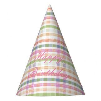 Pink Plaid Paper Party Hat