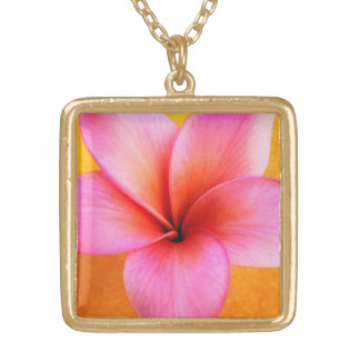 Pink Plumeria Frangipani Hawaii Flower Hawaiian Gold Plated Necklace