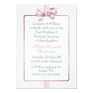 Pink Polka Dot Baby's Birthday and Naming Ceremony 13 Cm X 18 Cm Invitation Card