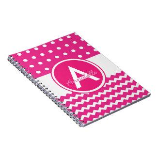 Pink Polka Dot Chevron Monogram Personalized Notebooks