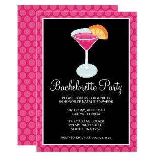 Pink Polka Dot Cocktail Drink Bachelorette Party Card
