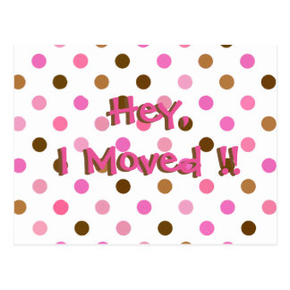 Pink Polka Dot Fun Change of Address Postcard