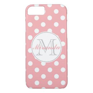 pink polka dot monogram iPhone 7 case