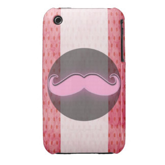 Pink polka dot mustache iPhone 3 Case-Mate cases