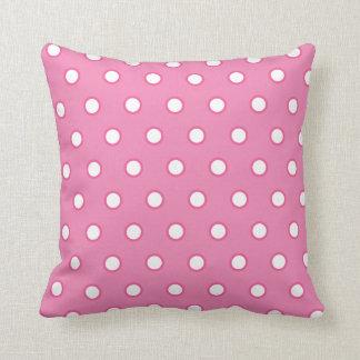 Pink Polka Dot Square Pillow