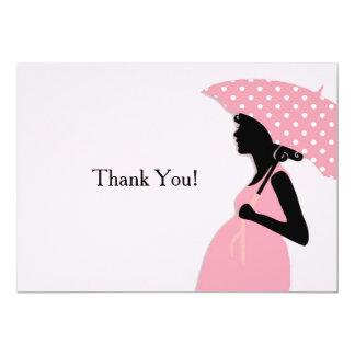 Pink Polka Dot Umbrella Thank You Notecard