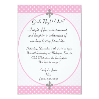 Pink Polka Dots Girls Night Out Invitation