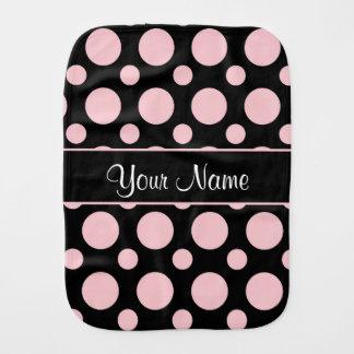 Pink Polka Dots On Black Background Baby Burp Cloths