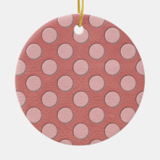 Pink Polka Dots on Coral Leather Print Christmas Ornament