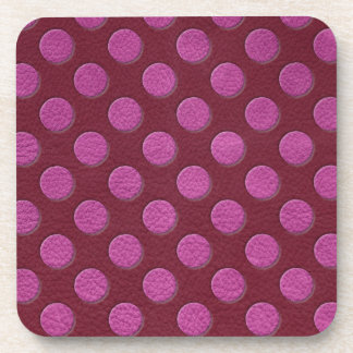 Pink Polka Dots on Red Wine Leather print Coaster