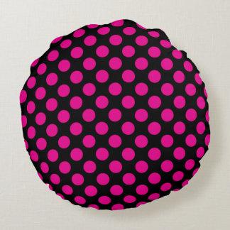Pink Polka Dots Round Cushion