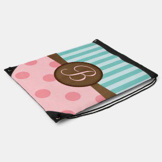 Pink polka dots teal stripes   monogram   custom drawstring bag