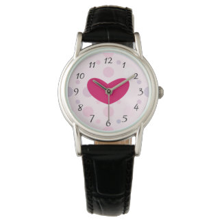 Pink Polka Dots with a funky red heart Watch