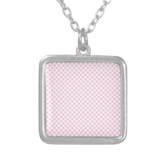 Pink Polka Dots with Customizable Background Silver Plated Necklace