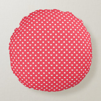 Pink Polka hearts Round Cushion