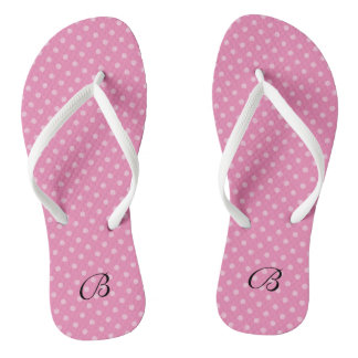 Pink polkadots monogram wedding party flip flops thongs