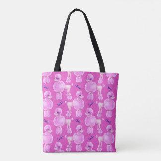 Pink poodle dog animal pattern pink art bag