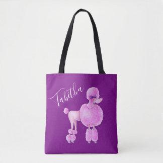 Pink poodle dog art personalised bag