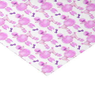 Pink poodle patterned watercolor art tissue paper