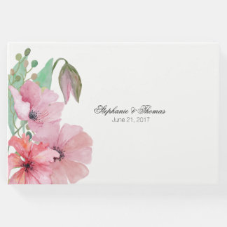 Pink Poppies Wedding Guest Book