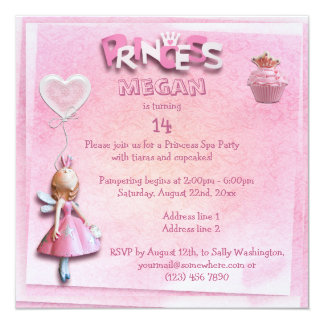 Pink Princess 14th Birthday Spa Party Double Sided 5.25x5.25 Square Paper Invitation Card