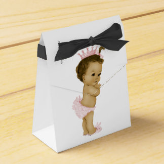 Pink Princess African American Baby Girl Shower Wedding Favour Box